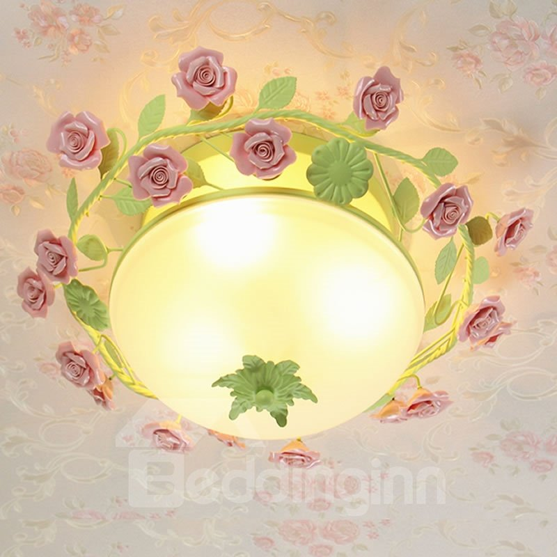 Pink Roses and Green Leaves Iron and Glass 3 Bulbs Flush Mount