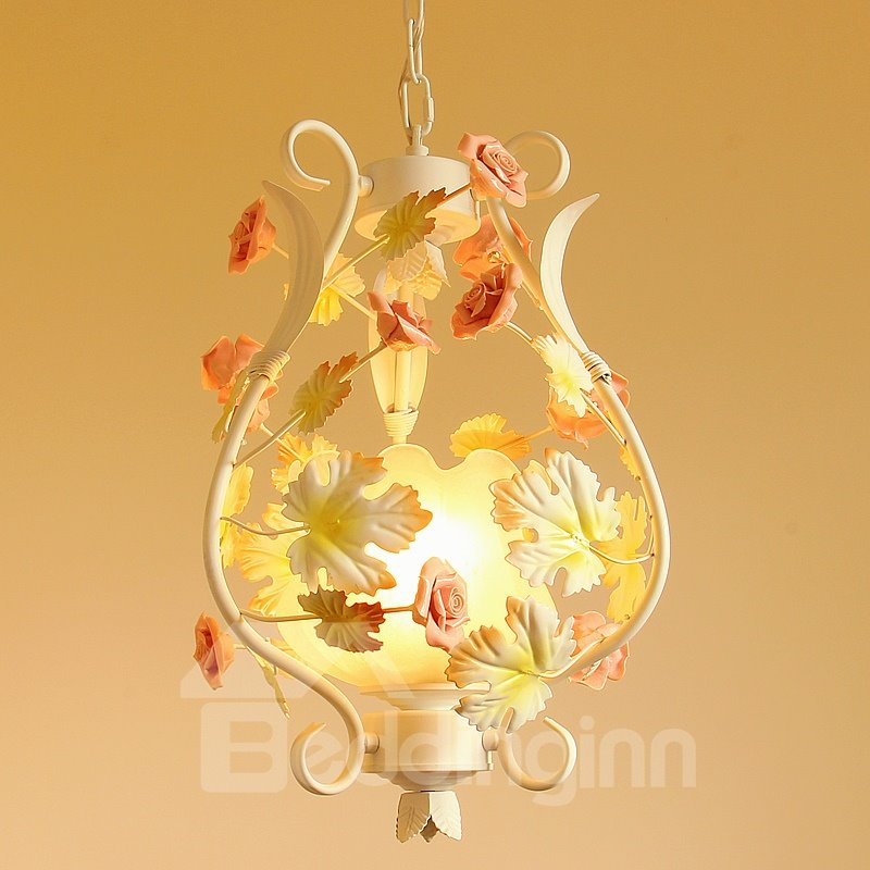 Pink Roses and Leaves Iron and Ceramic 1 Bulb Pendant Light