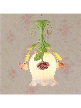Rose Pattern Country Style 1 Bulb Pendant Light