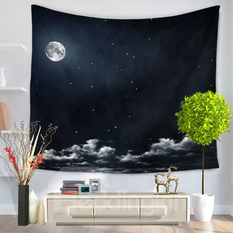 Moonlight Night and Clouds Vast Universe Decorative Hanging Wall Tapestry