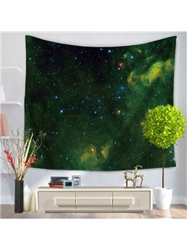 Universe Galaxy Space Green Night Sky Decorative Hanging Wall Tapestry