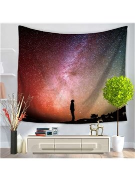 Looking Up at Night Sky Galaxy Space Decorative Hanging Wall Tapestry