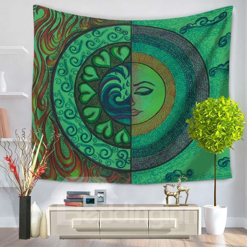 Sun Moon Bohemia Design Ethnic Pattern Green Decorative Hanging Wall Tapestry