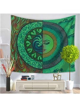 Sun Moon Bohemia Design Ethnic Pattern Green Decorative Hanging Wall Tapestry