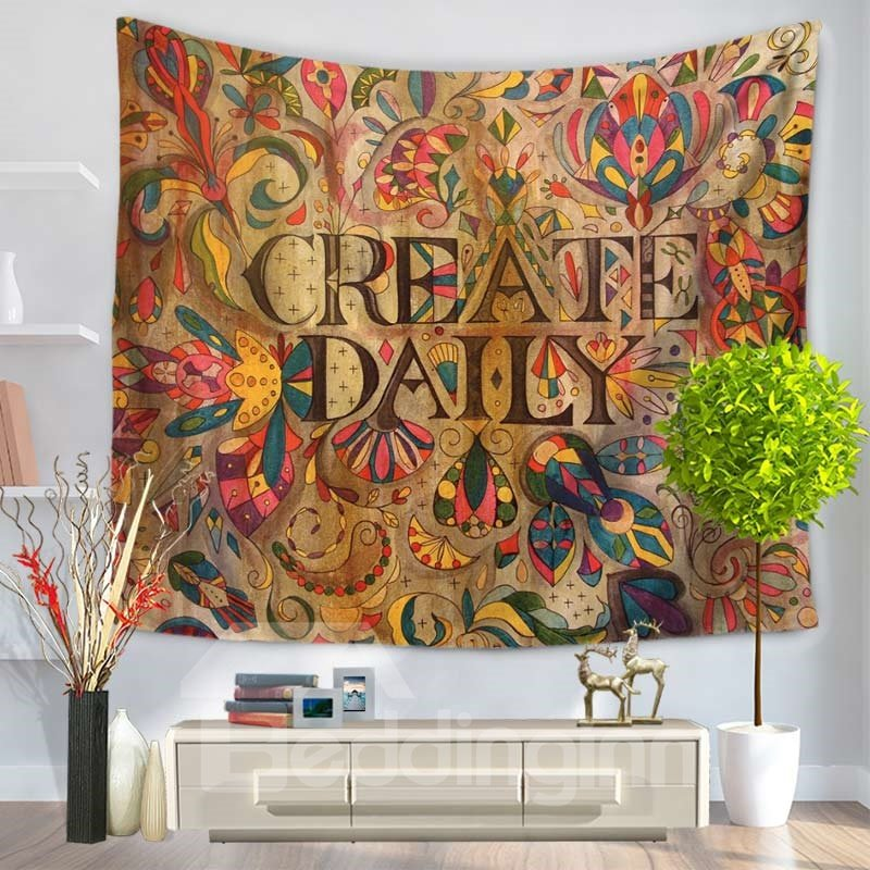 Create Daily Mandala Celestial Ethnic Style Decorative Hanging Wall Tapestry