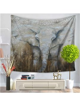 Water Starved Elephant Ethnic Style Decorative Hanging Wall Tapestry
