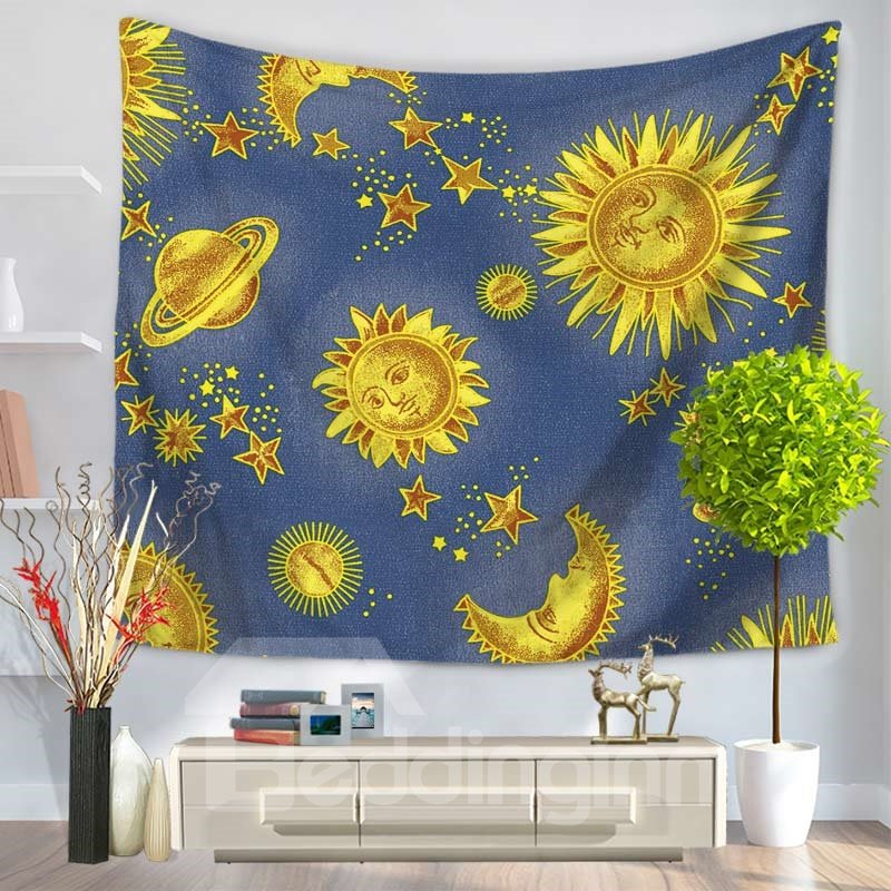 Golden Celestial Sun and Moon Galaxy Space Decorative Hanging Wall Tapestry