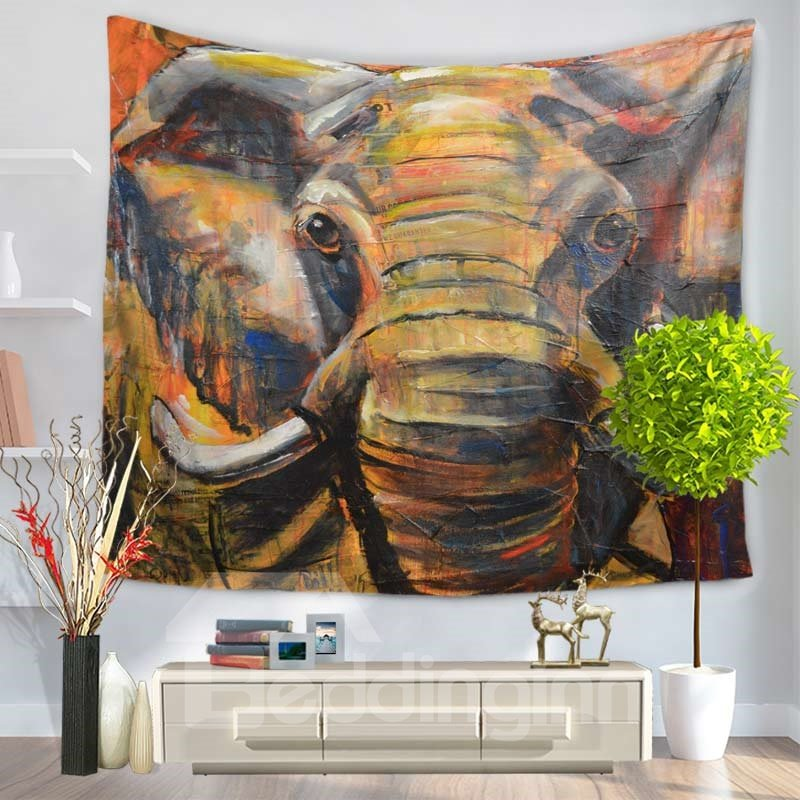 Dyed Elephant Ethnic Style Decorative Hanging Wall Tapestry