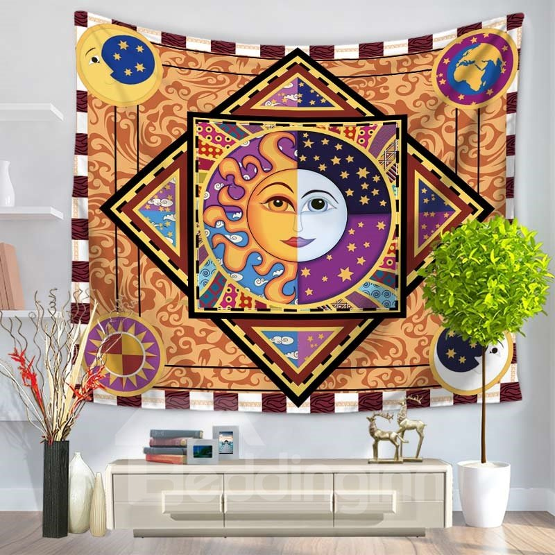 Celestial Sun and Moon Face Ethnic Style Decorative Hanging Wall Tapestry