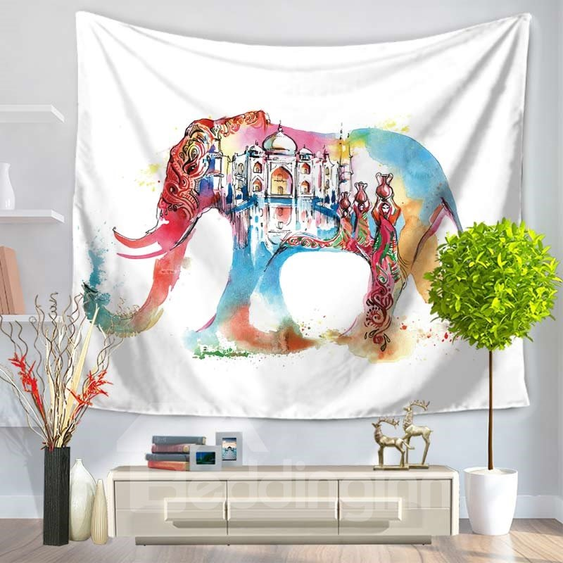 Colorful Elephant with Castle Ethnic Style Decorative Hanging Wall Tapestry