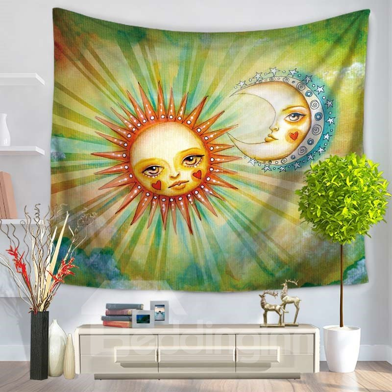 Cute Sun and Moon Babies Shining Decorative Hanging Wall Tapestry