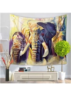Africa Elephants and Long Ivories Pattern Decorative Hanging Wall Tapestry