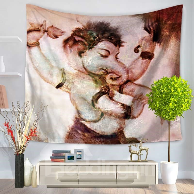 Elephant Boy with Four Arms Pattern Decorative Hanging Wall Tapestry