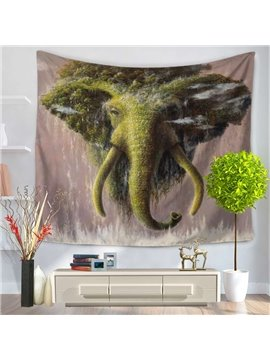 Forest and Green Elephant Shape Design Decorative Hanging Wall Tapestry