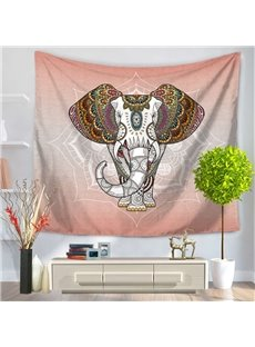 Elephant Head with Mandala Pattern Exotic Style Gradient Pink Decorative Hanging Wall Tapestry