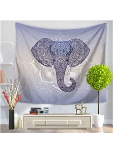 Elephant Head with Mandala Pattern Exotic Style Gradient Purple Decorative Hanging Wall Tapestry