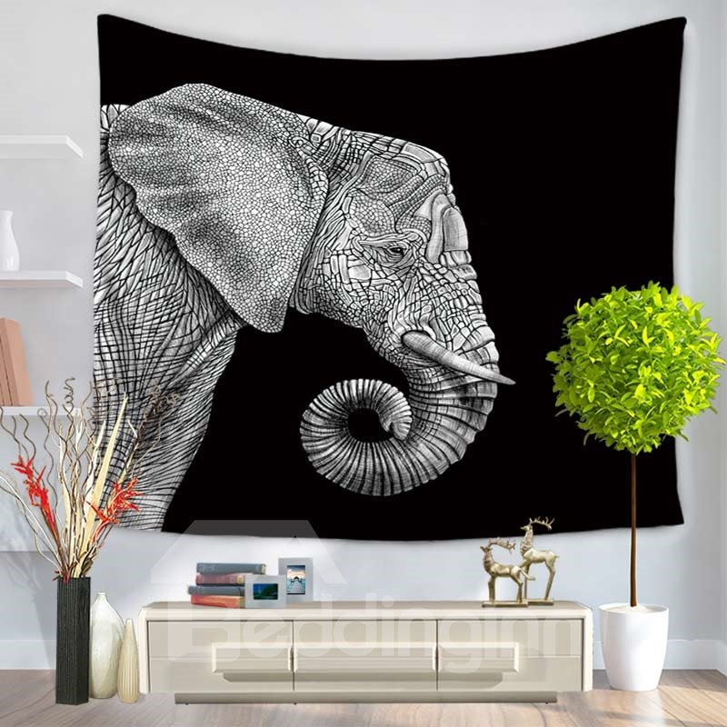 Stone Carving Gray Elephants Pattern Ethnic Style Black Decorative Hanging Wall Tapestry