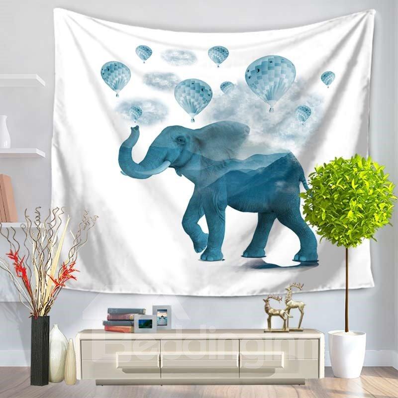 Blue Elephant and Balloon Joyful Decorative Hanging Wall Tapestry