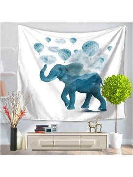 Blue Elephant and Balloon Joyful Decorative Hanging Wall Tapestry