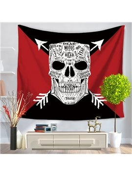 White Skull Printed with Letters Red and Black Triangle Decorative Hanging Wall Tapestry