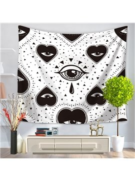 Heart Shape Eyes Tearing and Little Triangle Pattern Decorative Hanging Wall Tapestry