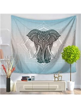 Elephant and Lotus Linear Ethnic Style Decorative Hanging Wall Tapestry