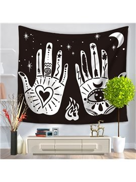 Abstract Palms Printed Eyes and Heart Galaxy Space Cotton Decorative Hanging Wall Tapestry