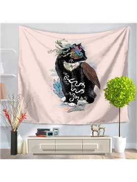 Ancient Black Cat and Tortoise Animals Shape Decorative Hanging Wall Tapestry