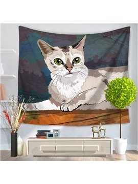 White Cat Lying with Yellow Eyes Pattern Decorative Hanging Wall Tapestry