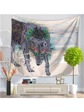 Wild Wolf Along Sea Beach Pattern Decorative Hanging Wall Tapestry