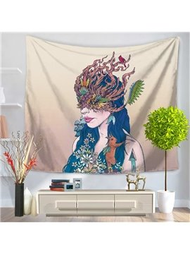 Long Hair Mermaid with Chic Mask Pattern Decorative Hanging Wall Tapestry