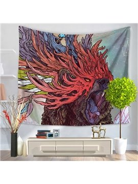 Fierce Wild Bear with Coral Mask Pattern Decorative Hanging Wall Tapestry