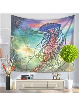 Sea World Mermaid with Jellyfish Hat Pattern Decorative Hanging Wall Tapestry
