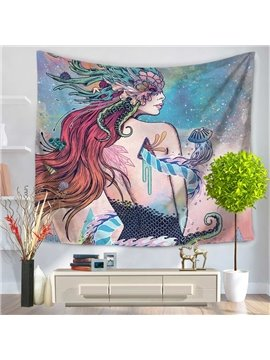 Long Hair Mermaid with Smooth Back Sea World Pattern Decorative Hanging Wall Tapestry