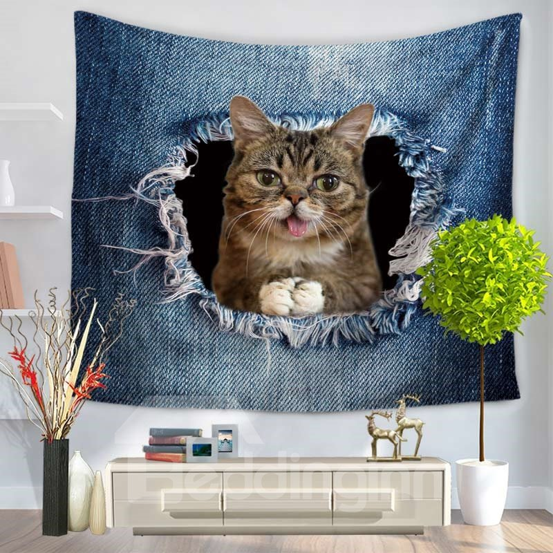 Tongue Sticking Out Cat Through the Big Ripped Jeans Decorative Hanging Wall Tapestry