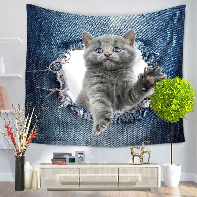 Extending Claws Cat Through the Big Ripped Jeans Decorative Hanging Wall Tapestry