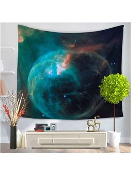 Green Celestial Body Galaxy Space Pattern Decorative Hanging Wall Tapestry