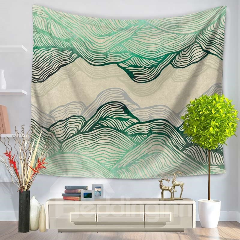 Abstract Green Ripple Mountain Shape Decorative Hanging Wall Tapestry