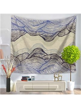 Abstract Gradient Purple Ripple Mountain Shape Decorative Hanging Wall Tapestry
