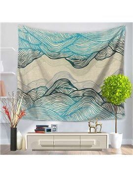 Abstract Blue Ripple Mountain Shape Decorative Hanging Wall Tapestry