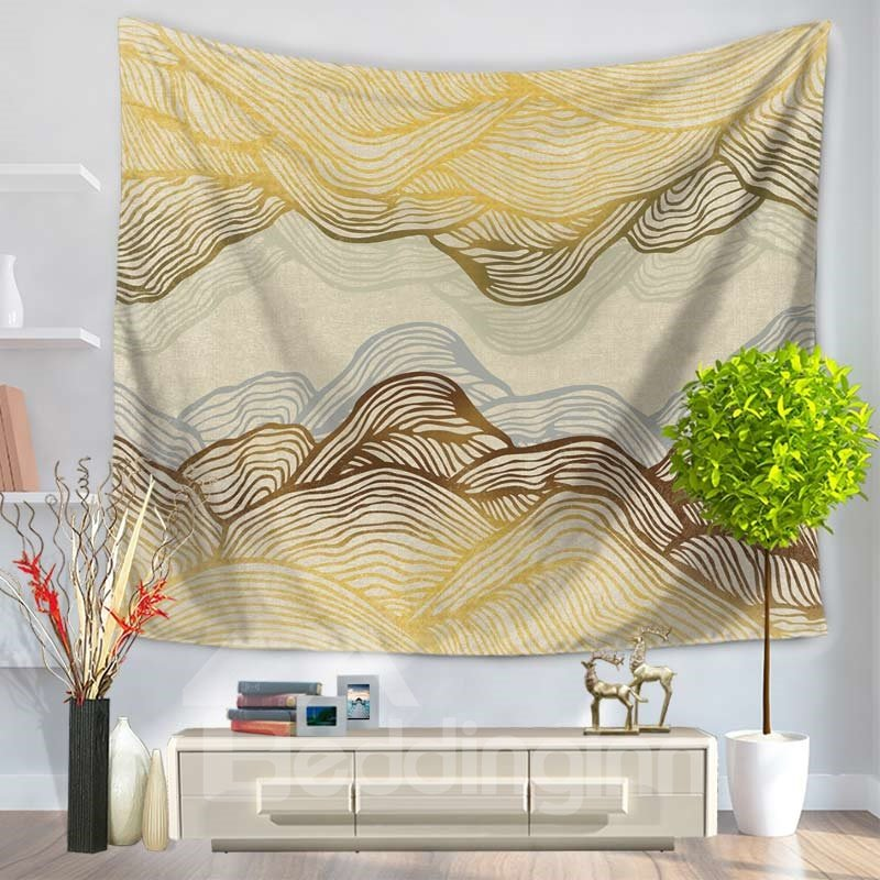 Abstract Yellow Ripple Mountain Shape Decorative Hanging Wall Tapestry