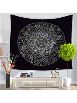 Mysterious Mandala Pattern Exotic Style Black Decorative Hanging Wall Tapestry