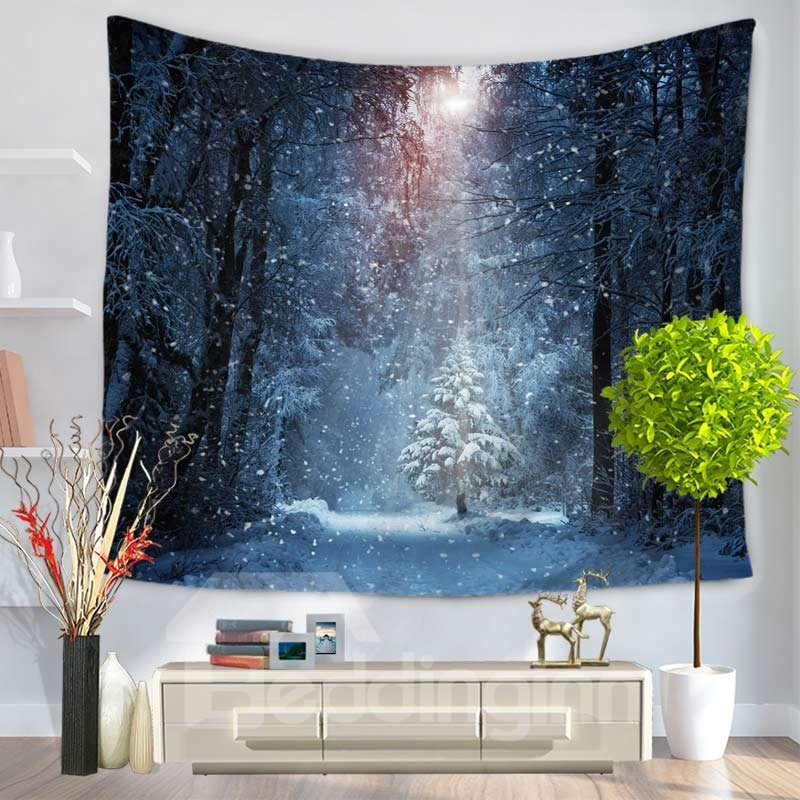 Snowy Forest and Sunshine Pattern Decorative Hanging Wall Tapestry
