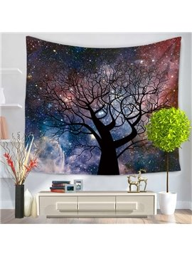 Colorful Galaxy Space Twinkle Stars and Tree Trunk Decorative Hanging Wall Tapestry