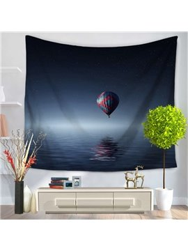 Still Sea and Hot-Air Balloon Pattern Decorative Hanging Wall Tapestry