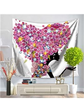 Floral Heart Shape Wings and Fairy Butterflies Pattern Decorative Hanging Wall Tapestry