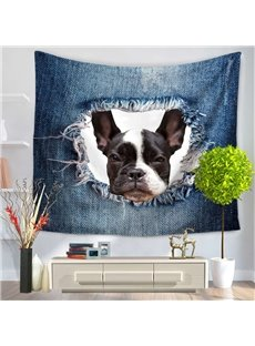 French Bulldog and Big Ripped Jeans Decorative Hanging Wall Tapestry