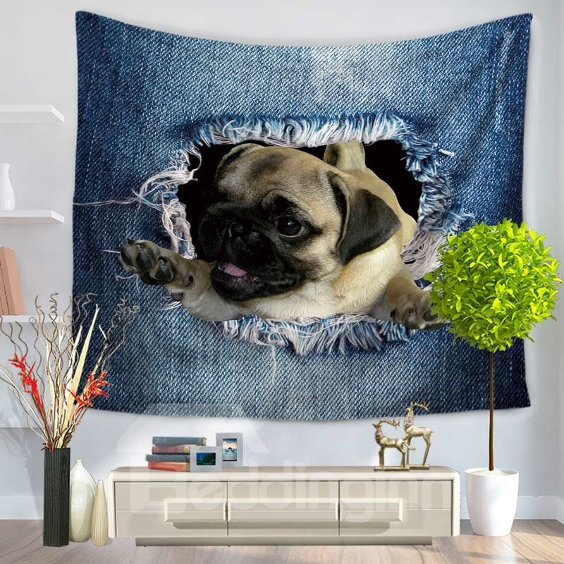 Pug Dog Waving and Big Ripped Jeans Decorative Hanging Wall Tapestry