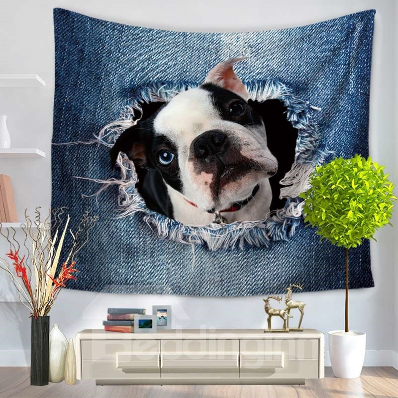Bulldog Through the Big Ripped Jeans Decorative Hanging Wall Tapestry