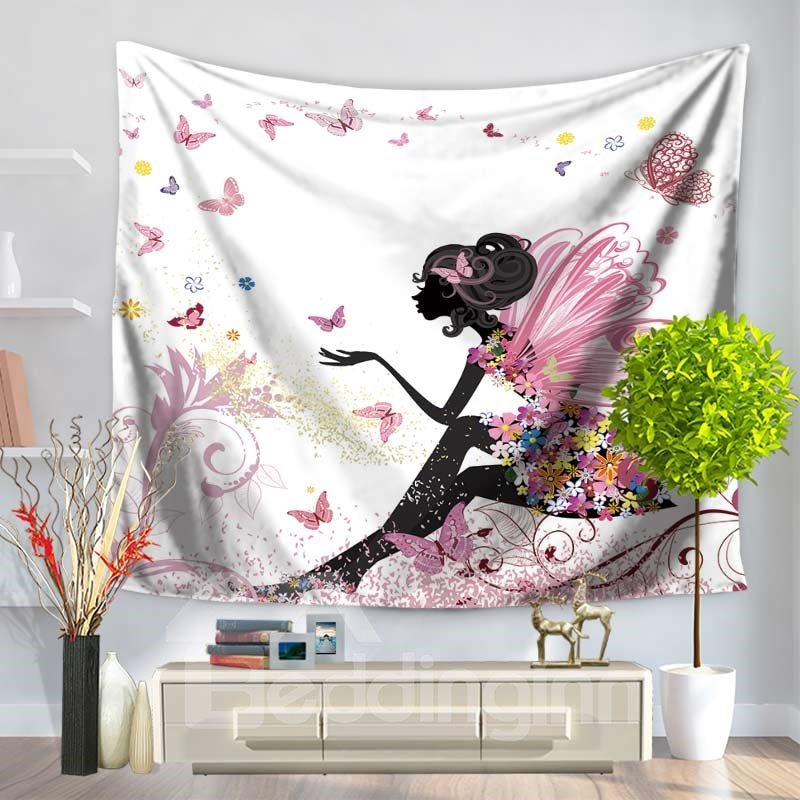 Floral Fairy with Pink Wings and Butterflies Dancing Decorative Hanging Wall Tapestry
